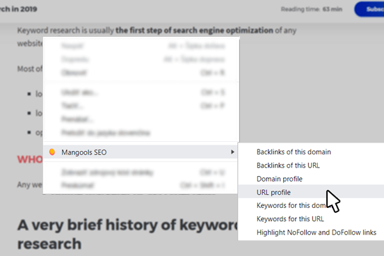 Screenshot of SEO extension by Mangools