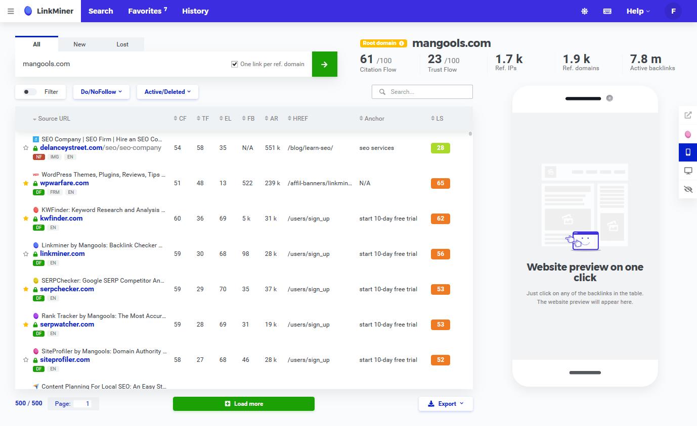 Screenshot of LinkMiner - keyword research tool