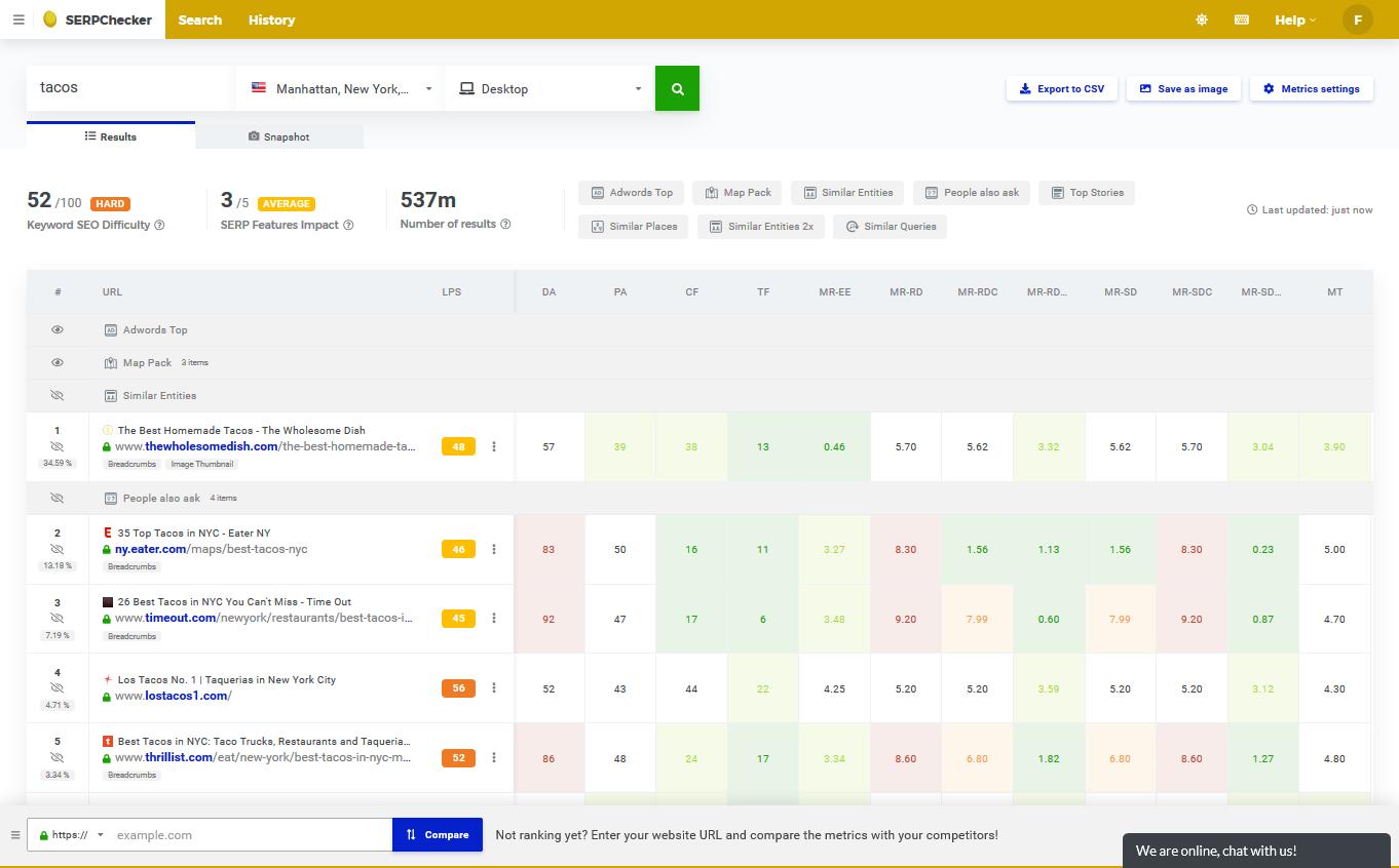 Screenshot of serpchecker - rank tracking tool