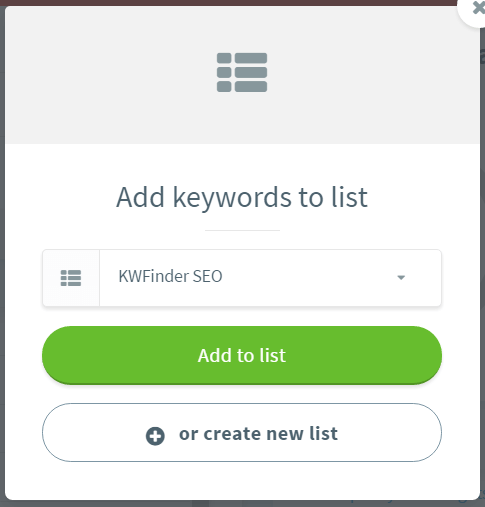 kwfinder guide add keywords to list create list