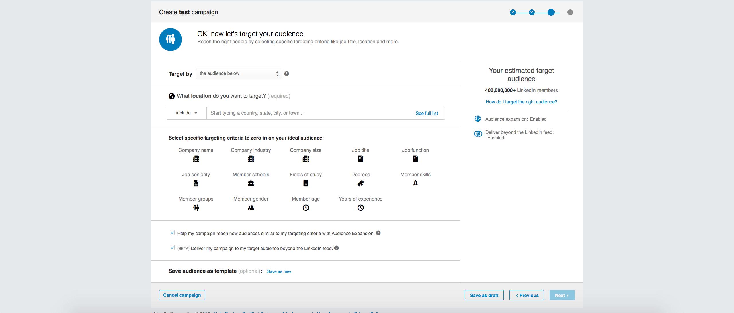 Screenshot 5: Linkedin paid campaign targeting