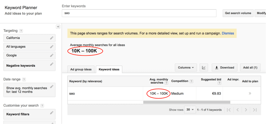 Screenshot 1: KWFinder exact values vs. Google Keyword Planner