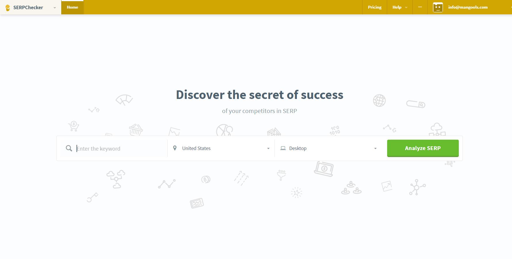 serpchecker mangools landing page application