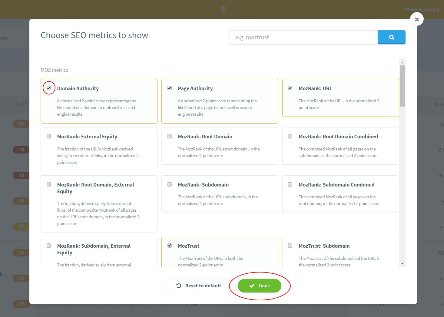 serpchecker guide manage metrics