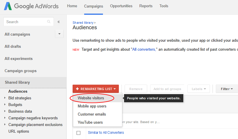adwords remarketing lists