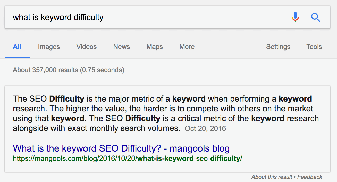 featured snippets keyword difficulty