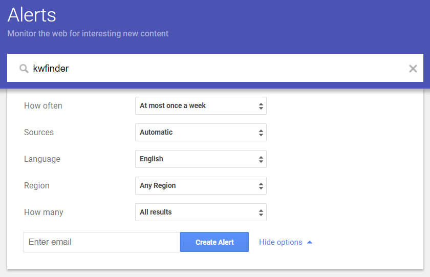 Google Alerts for brand mentions
