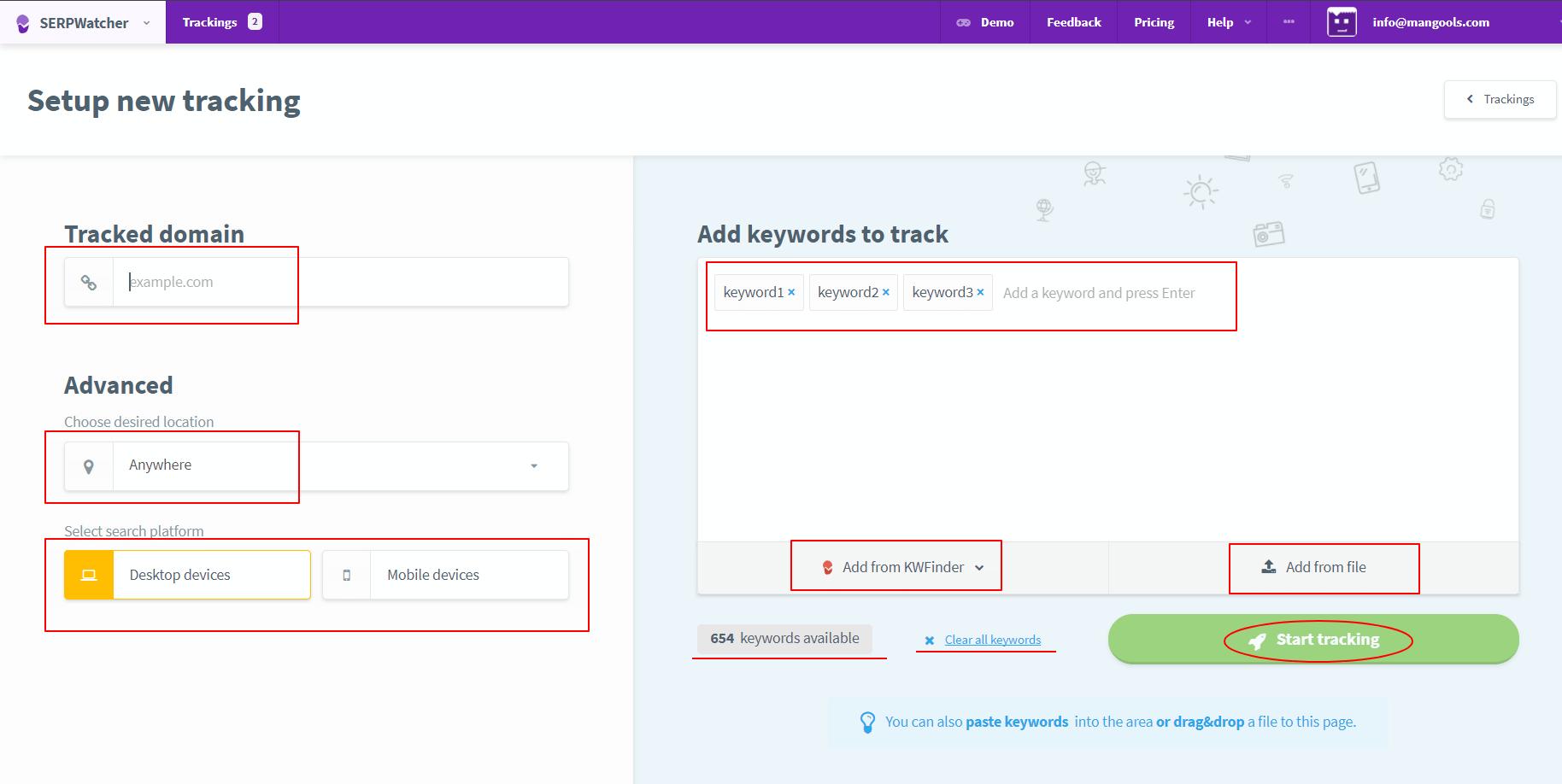 keyword position tracking tool