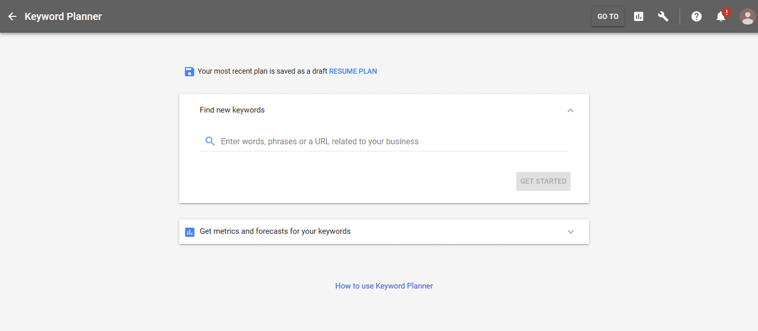 New Keyword Planner Adwords