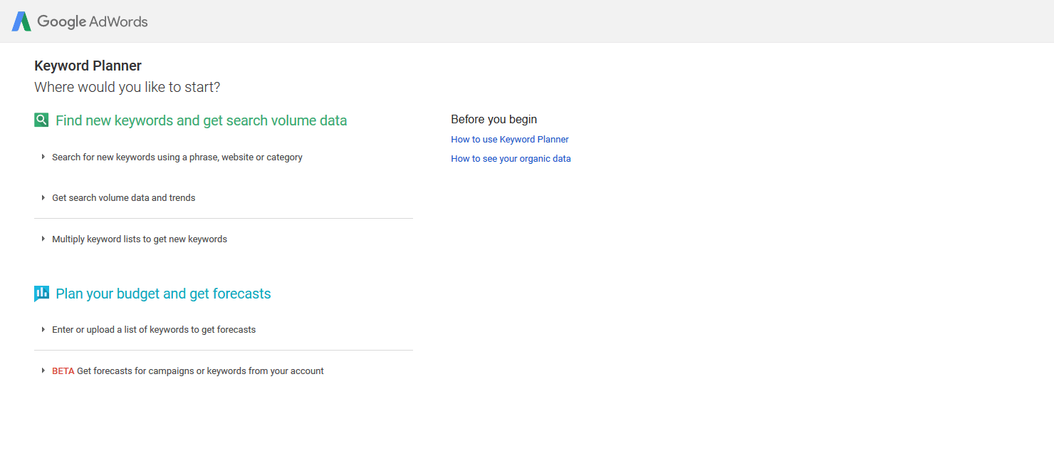 Old Google Keyword Planner