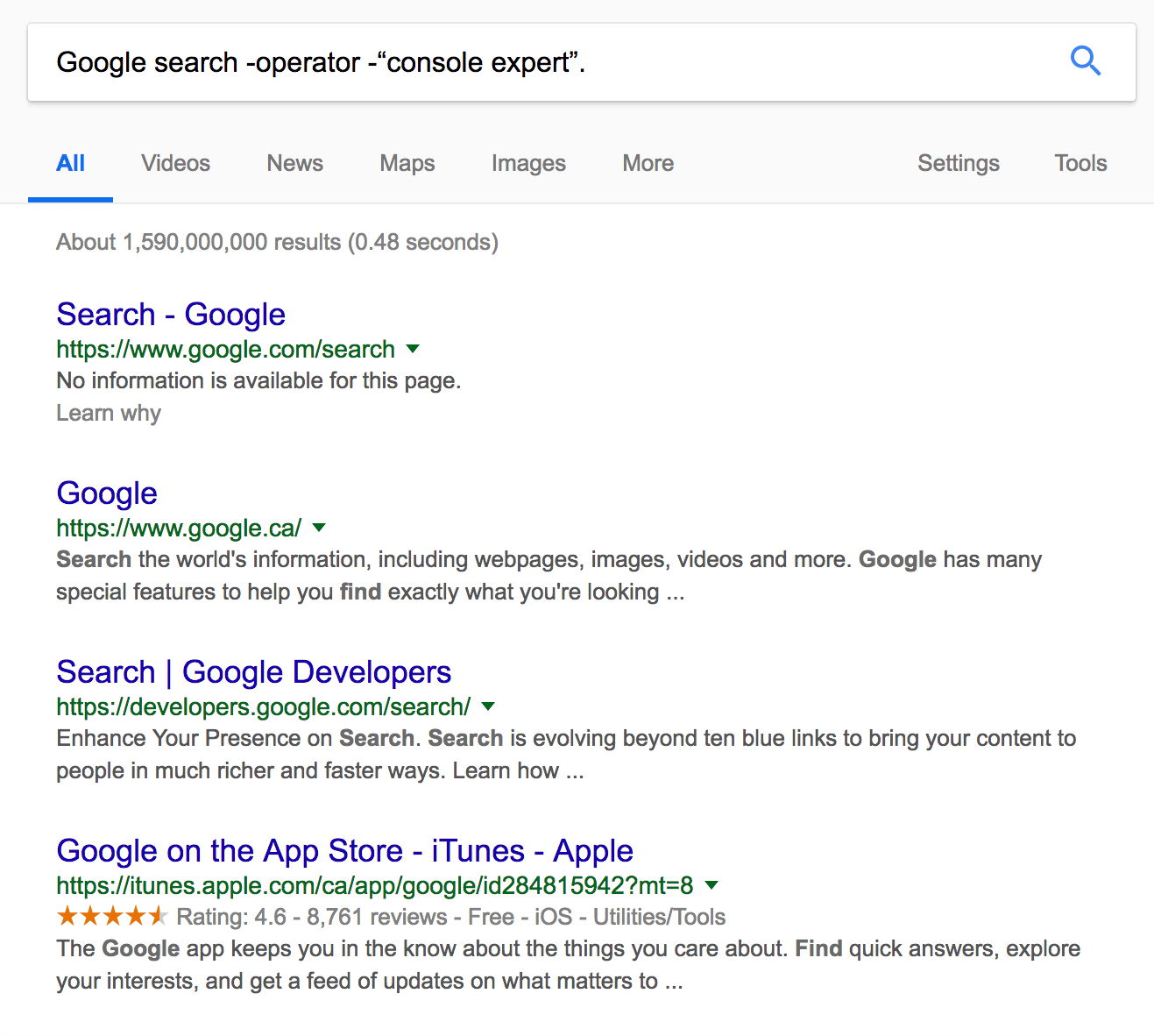Combined google search operator