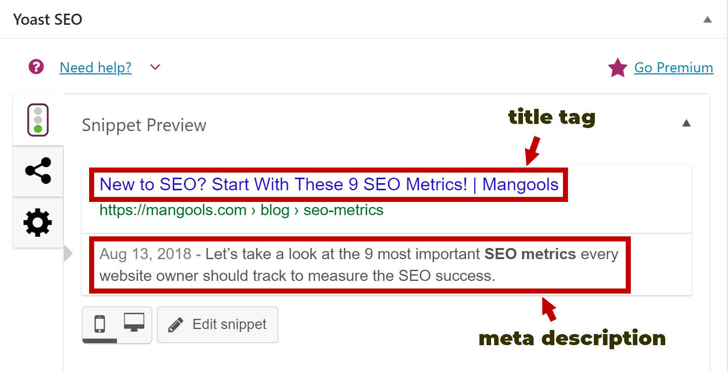 title tag and meta description