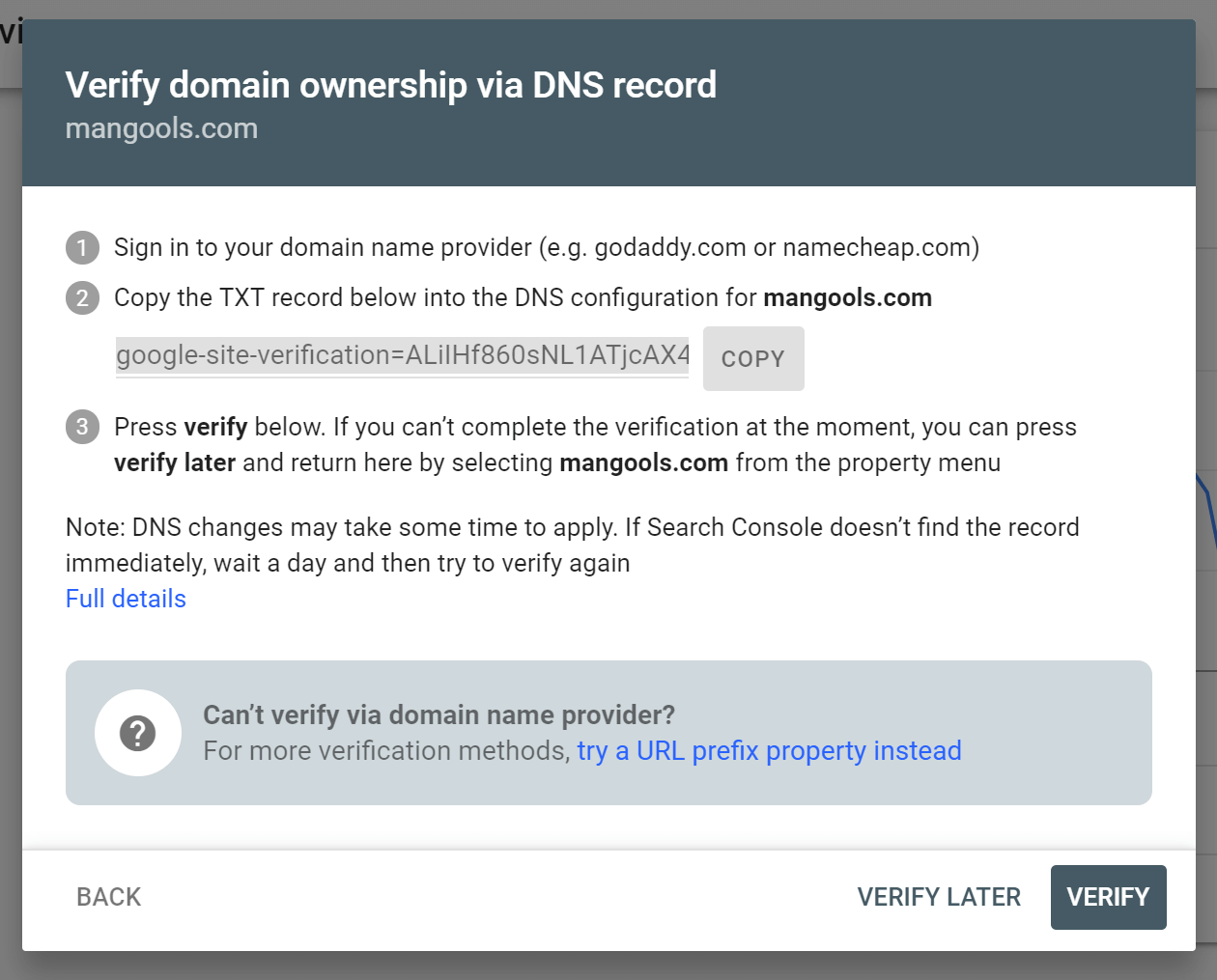 How to verify your property (website) in the Search Console