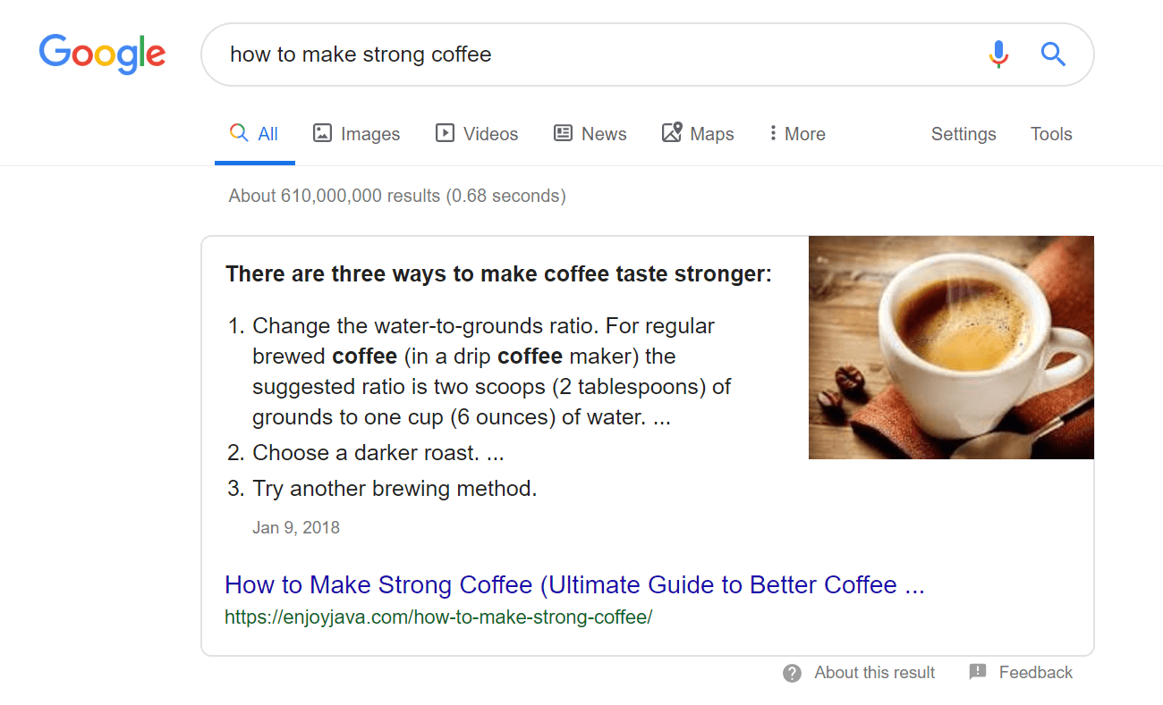 Coffee SERP
