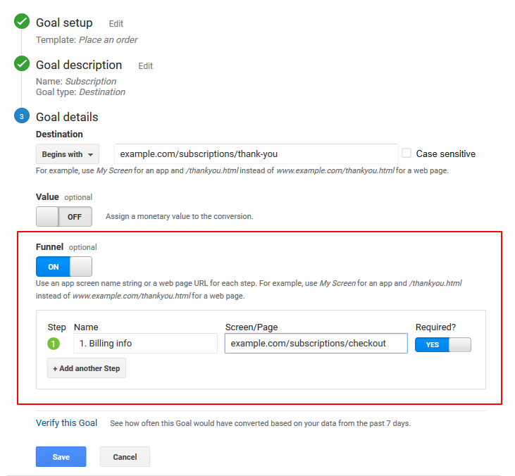 Funnel settings in Google Analytics