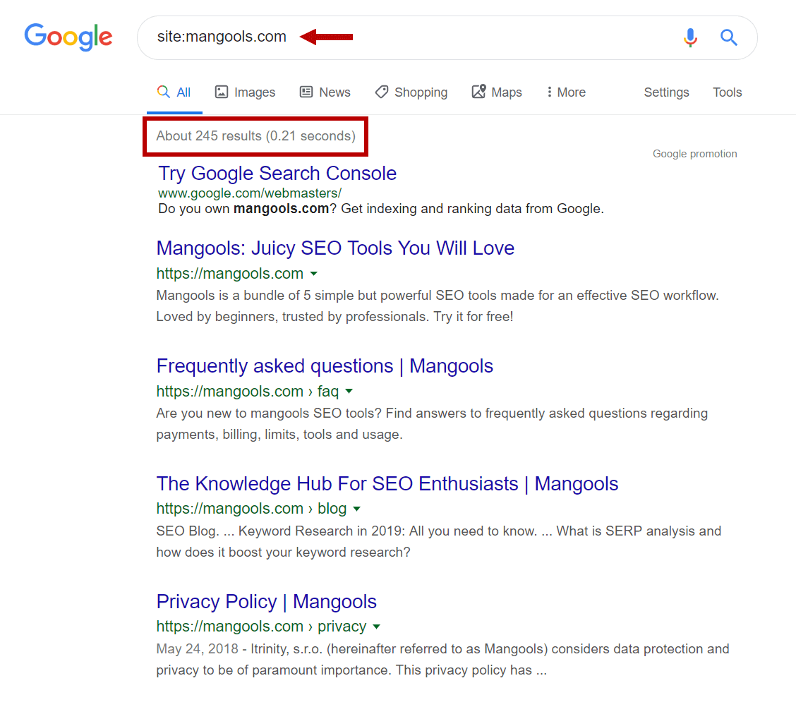 Site: operator de căutare Google