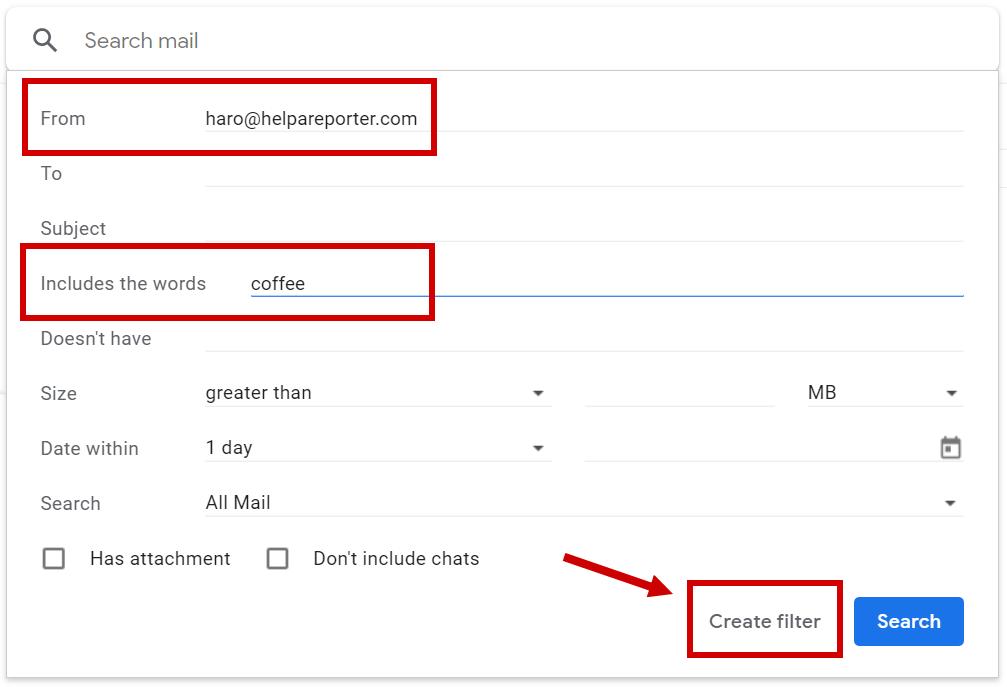 Haro filter Gmail