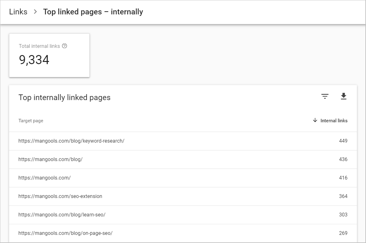 Google Search Console internal links report