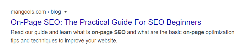 SERP snippet without brand
