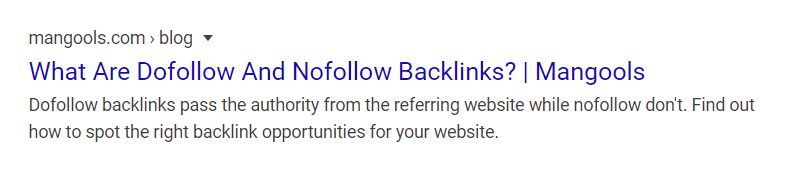 SERP snippet with brand