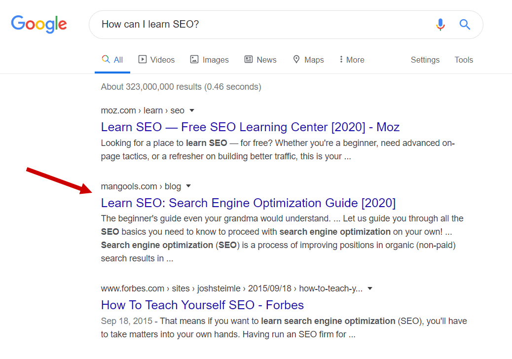 "Résultats du SERP pour ""how can i learn seo"""