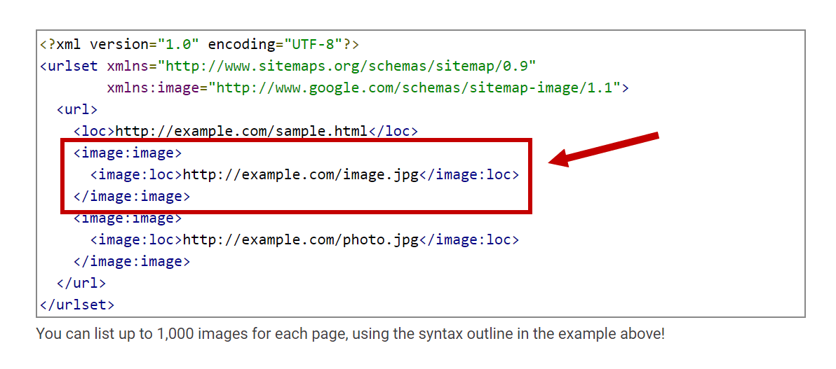 Image sitemap code snippet