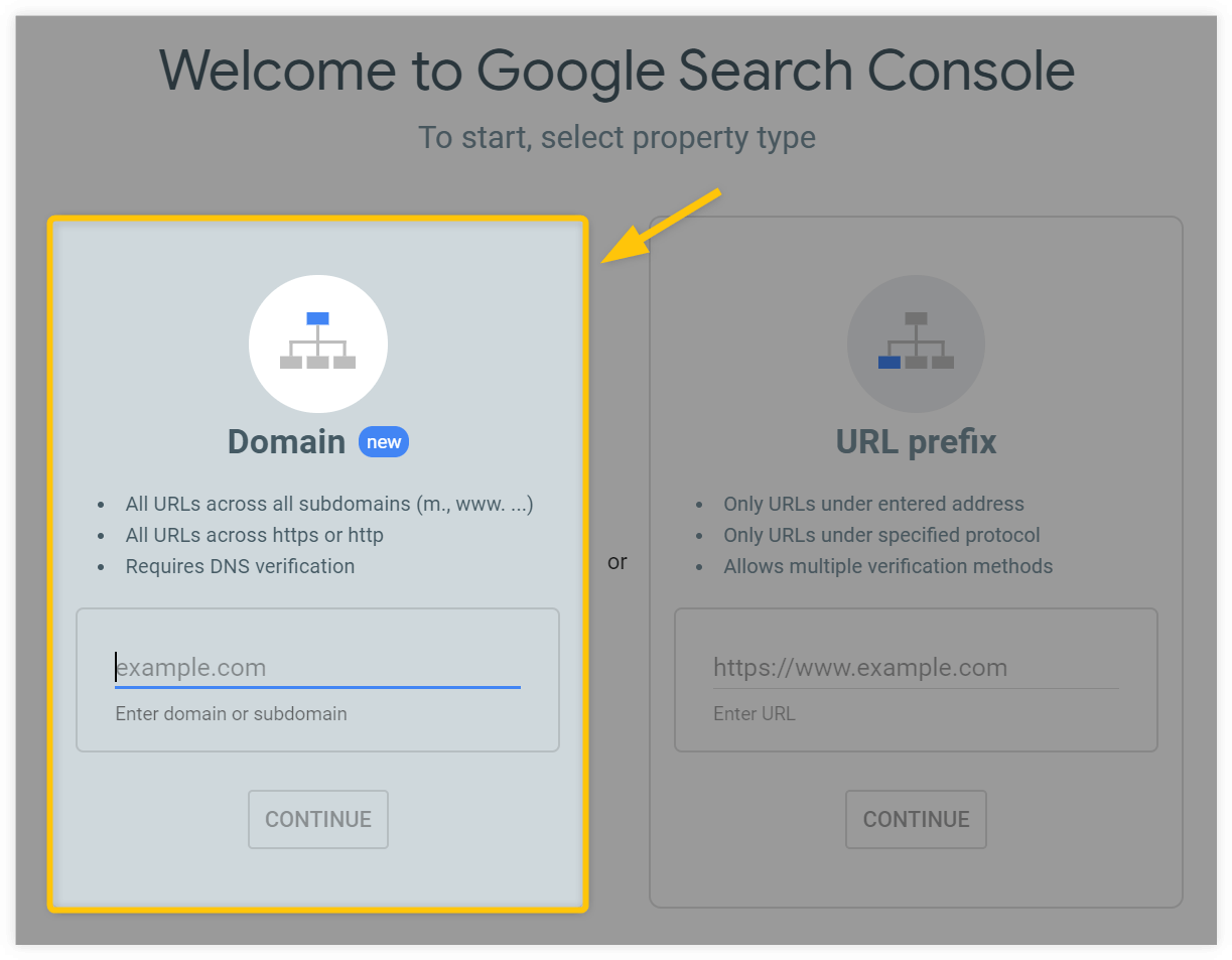 search console domain property