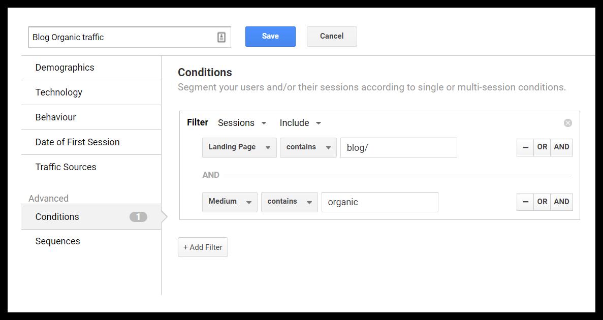 ví dụ về phân đoạn phân tích của google
