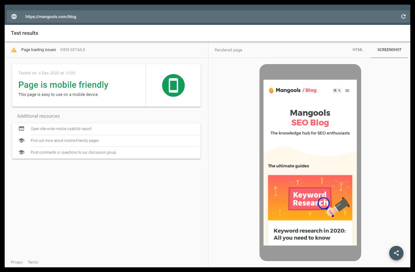 công cụ kiểm tra tính thân thiện với thiết bị di động của Google